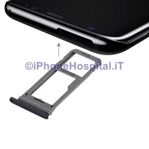 Porta Sim Slot Slitta Carrello Vassoio Color Nero per Samsung Galaxy S8