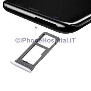 Porta Sim Slot Slitta Carrello Vassoio Color Silver per Samsung Galaxy S8