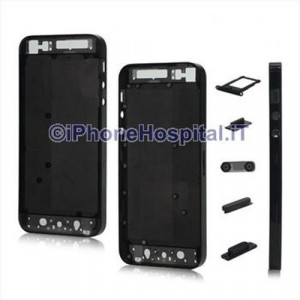 Retro Cover Nero Trasparente per Apple iPhone 5 A1428, A1429, A1442
