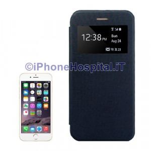 Custodia in Pelle con display ID chiamata iPhone 6 Plus e 6S Plus Blu Scuro