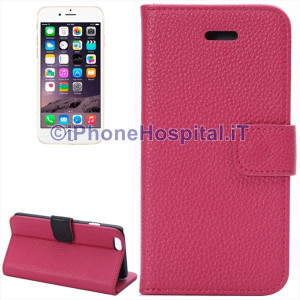 Custodia in Pelle con Slot Schede per iPhone 6 Plus e 6S Plus Magenta