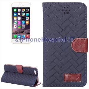Custodia Tessuto Chiusura Magnetica Slot Schede per iPhone 6 Plus e 6S Plus Blu