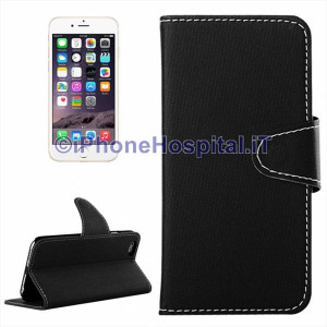 Cover in pelle magnetica a scatto con porta tessere per iPhone 6 Plus Nero
