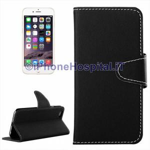 Cover in pelle magnetica a scatto con porta tessere per iPhone 6 Plus Nero