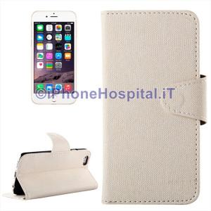 Custodia Pelle Chiusura Magnetica Porta Tessere per iPhone 6 Plus/6S Plus Bianca