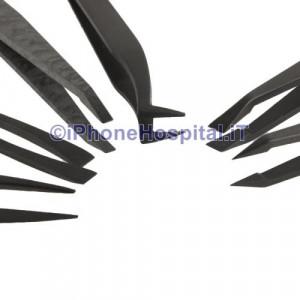 Set 6 Pinzette Antistatiche ESD Fibra di Carbonio & Pastica