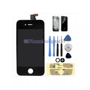 Touch Screen + Display Lcd per iPhone 4 Nero + Biadesivo + Attrezzi + Pellicole