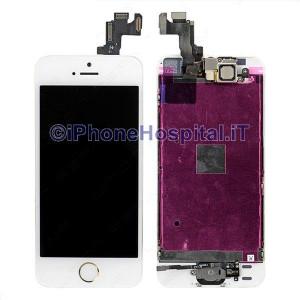 Vetro + Touch + Lcd per iPhone 5S / SE Bianco OEM Assemblato con Tasto Home Gold