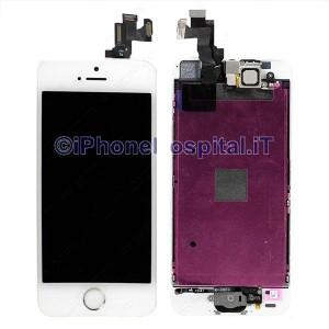 Vetro + Touch + Lcd per iPhone 5S / SE Bianco OEM Assemblato con Tasto Home Silver
